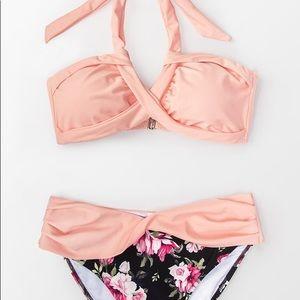Cupshe Pink/Floral Bikini Bathing Suit NWT Medium